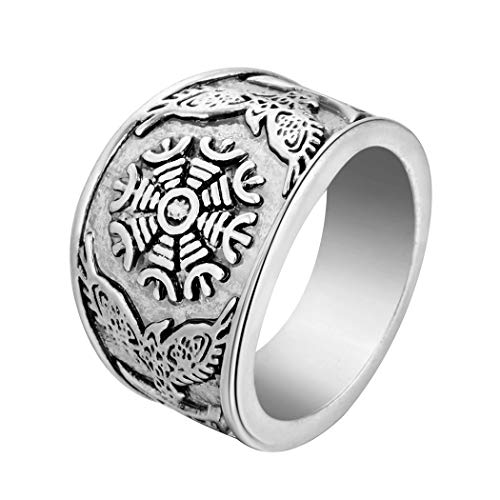 Chandler Patrón vegvisir vikingos nórdicos para hombre, no perdido en sí mismo, significado de 24 runas de amuleto con anillo de águila