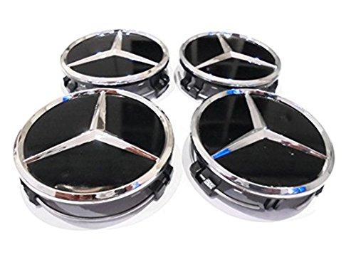 zhengyangjiujiu 4x negro 75mm Centro tapas llantas de aleación Centro Hub Caps Covers Raised centro estilo mejor ajuste para Mercedes ruedas (eMarkooz)