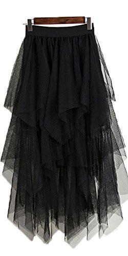 Onlybridal Women's Tulle Skirt Formal High Low Asymmetrical Midi Tea-Length Elastic Waist Skirt Black