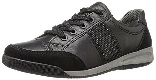 ARA Women's Rickie Fashion Sneaker, Black Leather/Suede, 10.5 M US