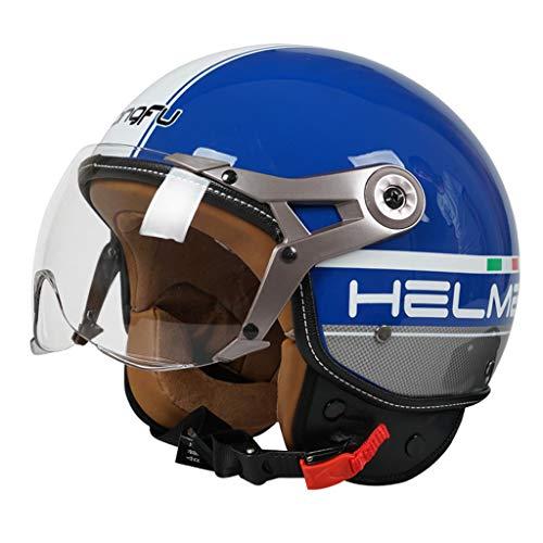 FLY® Casque De Moto, Casque Anti-buée Et Semi-over, Dur Et Résistant, Tour De Tête Réglable (56cm-62cm) (Couleur : Bleu)