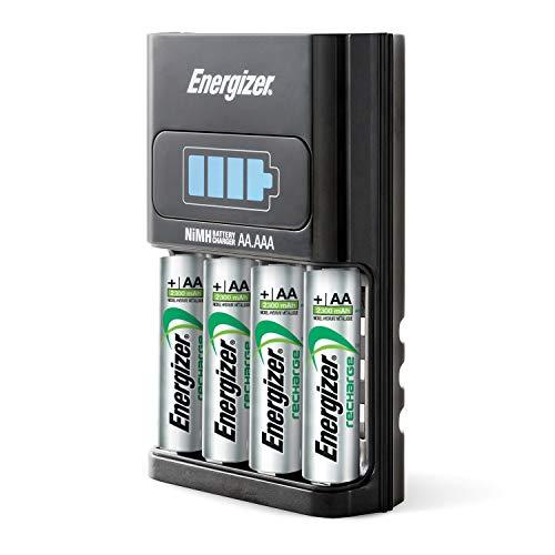 Energizer Ladegerät Batterien, Recharge 1-Hour, für Wiederaufladbare Batterien der Größen AA und AAA