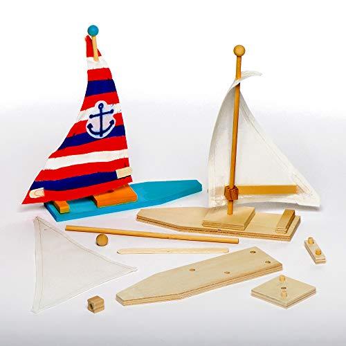"Baker Ross EF666 Ross Holz-Bastelsets ""Segelboot"" - für Kinder zum Basteln und Bemalen - toll als Dekoration (2 Stück)"