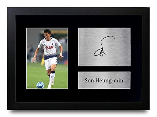 HWC Trading Son Heung-Min A4 Gerahmte Signiert Gedruckt Autogramme Bild Druck-Fotoanzeige Geschenk Für Tottenham Hotspur Spurs Fußball Fans