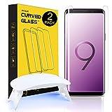 【2枚入り】Galaxy S9 Plusガラスフィルム UVライト付き 強化ガラスフィルム 全面吸着 優れたタッチ感度