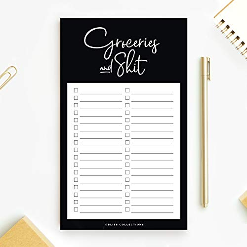 Bliss Collections Grocery List Pad for Fridge, Groceries and Shit Funny Tear Off Notepad for Refrigerator, 4.5 x 7.5 inches, 50 Sheets