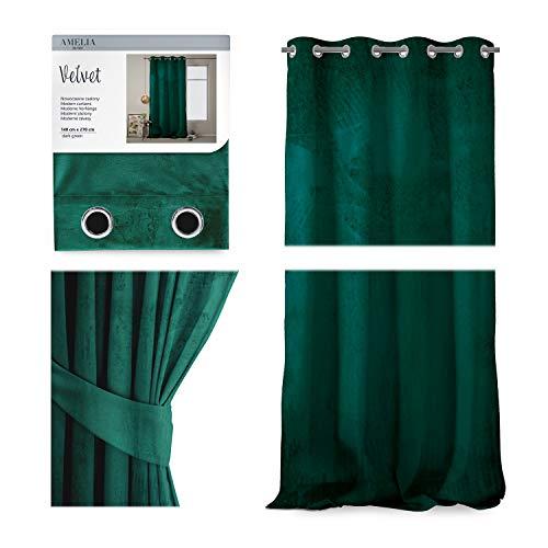 AmeliaHome Cortina de terciopelo con aspecto aterciopelado, 140 x 270 cm, color verde botella, 1 unidad, cortina opaca de terciopelo, decoración para ventanas, ligera, brillante, cortina decorativa