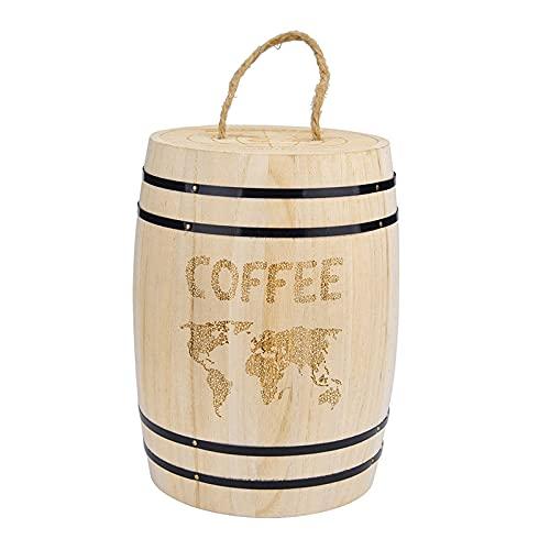 Fauge Recipiente de Madera para Granos de Café Botellas de Almacenamiento de Alimentos Granos de Café Almacenamiento de Barril Recipiente de Madera HerméTico Caja de Cocina