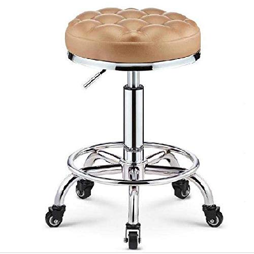 NUBAOzy Saddle Rolling Stool with Wheels,Straddle Stool with Yellow PU Synthetic Leather Seat,Adjustable Height 45-58 cm,Supported Weight 160 Kg,Studio Stoolfor Hairdressing Beauty (Color : Style#6)