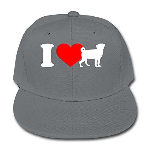 Whhfashion I Love Pugs - Gorra de béisbol para niños y niñas, estilo hip hop, para senderismo, ajustable, color negro