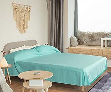 WECA FAMILY-Colcha Multiusos ,Plaid para sofá, Cama de 150-200, Liso, Rustico y Rayas. 200x270cm, Manta Multiuso Color Surtido. Algondón (200 X 270 CM, Turquesa Liso)