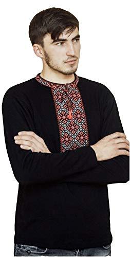 Vyshyvanka Herren T-Shirt, mit Ärmeln bestickt, Sorochka -  Schwarz -  XX-Large