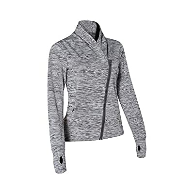 RainbowTree Women's Full Zip-up Yoga Workout Running Track Jacket with Thumb Holes Two Side Pocket Grey