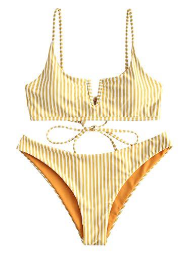 ZAFUL Damen Sexy V-förmiger Bikini mit Dünnem Riemen und Streifenmuster Bademode(Gleb M-EU38)