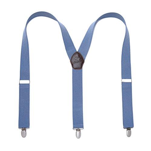 Man Braces Mode réglable et de haute qualité KANGDAI 3 Clips Connecteur en cuir avec Y Back Nouveau style Bracelet élastique à tricoter haute densité et durable (Blue)