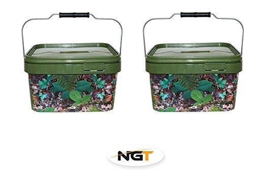 5 litre square camo bait bucket x 2 carp/coarse fishing by NGT
