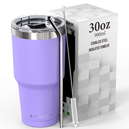 Umite Chef 30 oz Tumbler, Stainless Steel Vacuum Insulated Travel Tumbler Mug with lid, Double Wall Tumbler Coffee Mug Cup for Home, Office, Gift Box(Lavender)