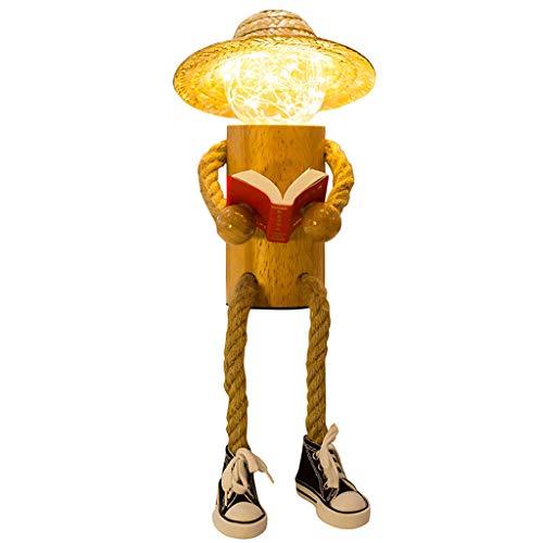 Homme de Bois créatif Veilleuse en Bois Veilleuse en Bois Chambre à Coucher en Bois Lampe de Table de Chevet Plug-in Créatif LED Veilleuse