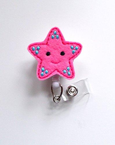 Pink Starfish - Retractable ID Badge Reel - MD Badge Holder - Cute Badge Reel - Nurse Badge Holder - Nursing Badge Clip - Felt Badge - Teacher Badge Reel - RN Badge-AlligatorClip