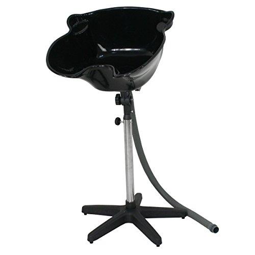 Height Adjustable Portable Salon Deep Shampoo Basin Sink Hair Treatment Bowl with Drain Hose- Black
