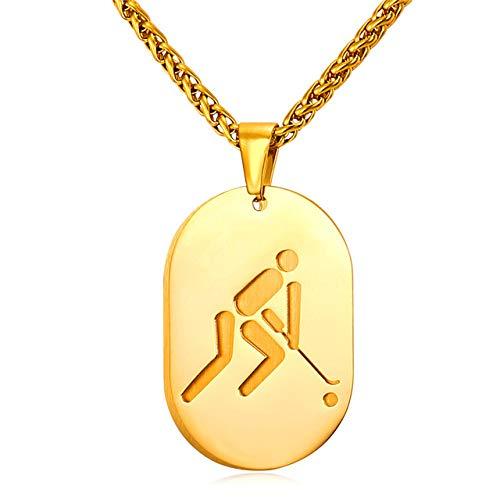 Hund Tag Halskette Für Männer Sportlichen Schmuck Edelstahl Charm Gold Farbe Hockey Anhänger Halskette 22 Zoll
