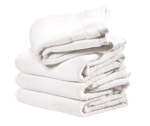 Price comparison product image iDesign Set of 4 Hand Towels,  Small Embellished Towel Set Made of 100 Percent Cotton,  Soft Towels Set for Bathroom,  Shower Room or Kitchen,  White