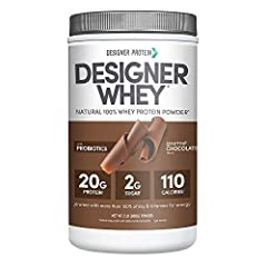 Contains 1 - 2 Pound canister of Designer Whey protein powder by Designer Protein, Gourmet Chocolate flavor. Packaging May Vary 20g of natural protein per serving complete with all the essential amino acids 110 calories per serving, probiotics for he...