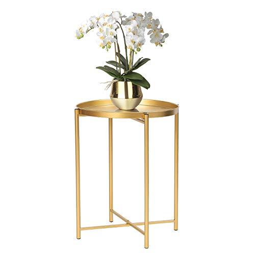 Tablett Metall Endtisch, Gold Rund Faltbar Beistelltisch Klein Dekorative Sofa Snack Kaffee Pflanze Ständer Tisch (Goldenes Tablett)