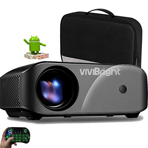 VIVIBRIGHT Proyector F10UP Android 2700 lumens Full HD Youtube Netflix miniteclado airmouse