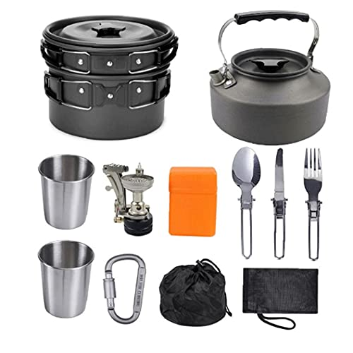 nJiaMe Estufa de Camping Picnic Juego de Utensilios de cocinar al Aire Libre Set Vajilla desechable Ultraligero Pliegue de Utensilios de Cocina para cocinar Tetera Pan Negro