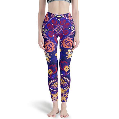 O2ECH-8 dames patroon fitness legging dames Classics High Waist yoga broek gymnastiek anti-cellulitis leggings dames - mandala