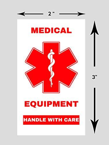 Aufkleber für medizinische Geräte, mit Pflegeaufkleber, Höhe 7,6 cm x Breite 5,1 cm, Weiß rot