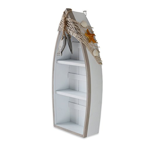Waroom Home Beach Theme Display Boat with 3 Shelves with Small Fish Star Fish Sea Shell and Fish Net, 16.5''H, White Nautical Standing Boat Shelf Decor, Miniature Boat Model, Decorative Boat