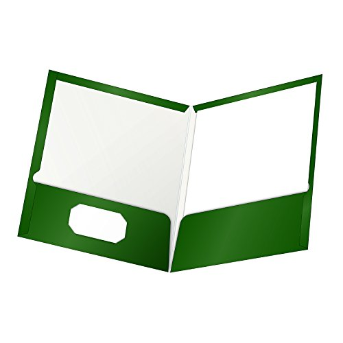 Oxford Laminated Twin-Pocket Folders, Letter Size, Green, Holds 100 Sheets, Box of 25 (51717)