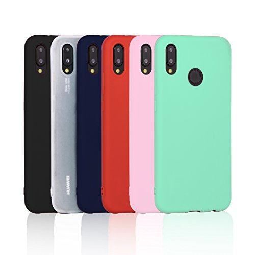 6 x Funda para Huawei P20 Lite, Wanxideng Carcasa Suave Mate en Silicona TPU, Soft Silicone Case Cover [ Negro+ Rojo+ Azul oscuro + Rosa + Verde Menta + Traslucido ]