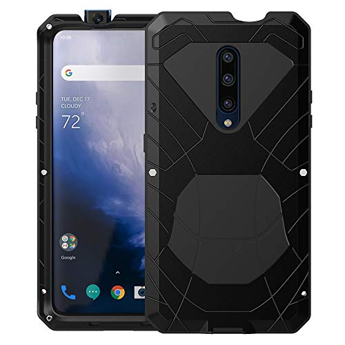 Feitenn Oneplus 7 Pro Case, Oneplus 7 Pro Case Heavy Duty, Armor Hybrid Aluminum Alloy Metal Cover Heavy Duty Soft Rubber Shockproof Protective Military Bumper Outdoor for Oneplus 7 Pro 2019 - Black