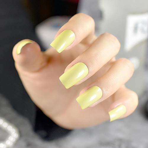 TJJF Olivgrüner Spiegel Nagelspitzen Flache glänzende Oberfläche Mittlere Acryl Falsche Nägel Lady Daily WearNagelzubehör