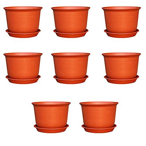 MOPOIN Macetas de plástico, 8 unidades, 15 x 11 cm, color marrón, macetas para plantas, plantas en miniatura, exteriores