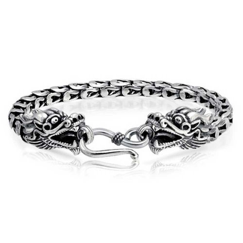 Bali Style Asian Dragon Heads Scales Link Eye Hook Clasp Bracelet For Women For Men Antiqued 925 Sterling Silver Bali Style Hook Clasp