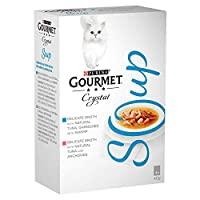 Delicate broth made with natural tuna and anchovies and with natural tuna, garnished with shrimp Complementary pet food for adult cats – feed in addition to complete pet food Cooked with care for preservation of taste Served in 40g pouch to keep ever...