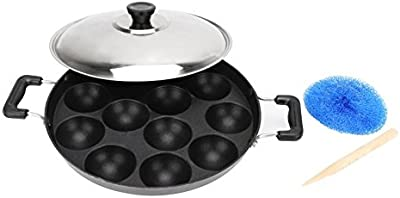 Apar Non-Stick 12 Cavity Appam Patra Side Handle with Lid Color May Vary