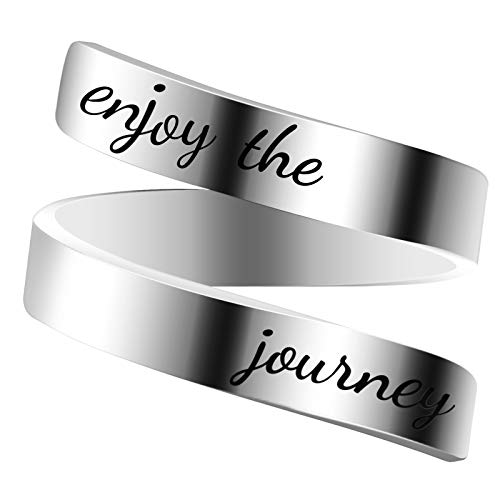 Engraved Inspirational Ring, Woffoly Open Adjustable Finger Ring, Surgical 316L Stainless Steel Statement Rings Gifts for Women Teen Girls