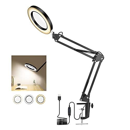 Lupa con Luz y Soporte Toolour Lámpara de Escritorio LED, Abrazadera en Lámpara de Aumento, Ampliación 5X, Lámpara de Lectura con Abrazadera, Lupa de Brazo Oscilante de Metal