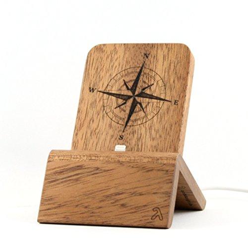 Smartphone Dock (Edition Kompass) für iPhones und Android-Smartphones (Samsung u.A.) mit und ohne Schutzhülle - Mahagoni massiv