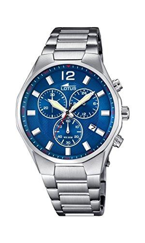 Lotus 10125/3 - Reloj para Hombre, Cuarzo, cronógrafo, cronógrafo, Correa de Acero Inoxidable, Color Plateado