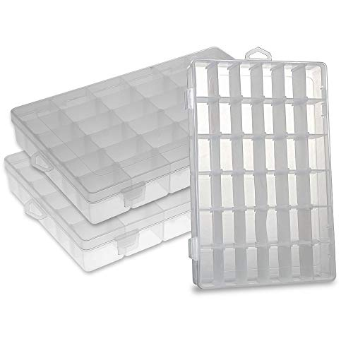 Plastic Jewelry Organizer and Storage Container Tackle Boxes Organizer Tray Bead Boxes with Dividers 36 grids 3 Pack