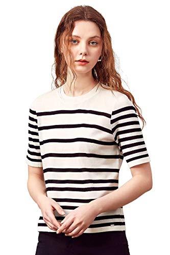 zhili Dames Klassieke Casual Korte Mouw Zwart en Wit Gestreept Gebreide Wol T-Shirt Tops(S-4XL)