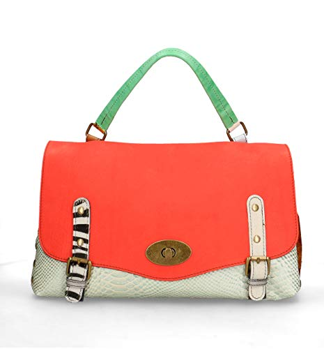 Chicca Borse Borsa a Mano in vera pelle made in Italy - 23x39x15 Cm