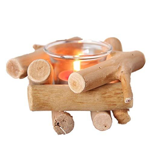 QoFina Handgefertigt Treibholz Kerzenständer Dekorative Holz, Treibholz Kerzenhalter,14x14x8 cm