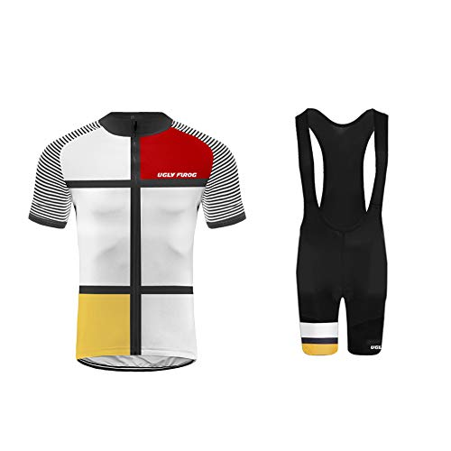 Uglyfrog Bike Wear-Promi Plaid-Malerei Design Herren Sport Top Trikot Men's Bike-T Full Zip +Bib Kurze Hosen with Gel Pad Anzüge for Rennen